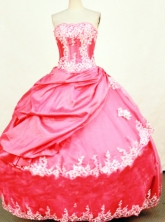 Lovely Ball Gown Strapless Floor-length Red Taffeta Appliques Quinceanera dress Style FA-L-397