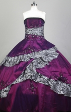 Low Price Ball Gown Strapless Floor-length Fuchsia Quinceanera Dress X0426072