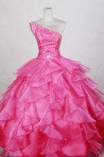 Luxurious Ball Gown One Shoulder Floor-length Hot Pink Quinceanera Dress LZ426075