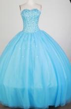 Luxurious Ball Gown Strapless Floor-length Baby Blue Quinceanera Dress X0426051
