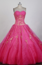 Luxurious Ball Gown Strapless Floor-length Magenta Quinceanera Dress X0426085