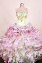 Luxurious Ball Gown Strapless Floor-length Pink Organza Beading Quinceanera dress Style FA-L-401