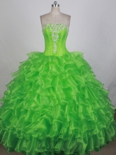 Luxurious Ball Gown Strapless Floor-length Spring Green Quinceanera Dress LZ426056