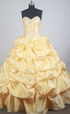 Luxurious Ball Gown Sweetheart  Floor-length Yellow Quinceanera Dress LZ426023