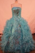 Luxurious ballgown strapless floor-length aqua blue organza quinceanera dresses FA-X-141