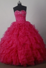 Luxuriously Ball Gown Strapless Floor-length Organza Red Beading Quinceanera Dress Style X042602
