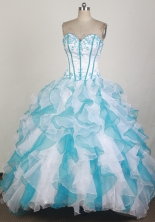 Modest Ball Gown SWeetheart Floor-length Blue And White Quinceanera Dress X0426071
