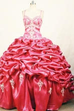 Modest Ball Gown Strap Floor-length Red Appliques Quinceanera dress Style FA-L-388