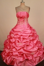 Modest Ball Gown Strapless Floor-Length Red Beading and Appliques Quinceanera Dresses Style FA-S-388