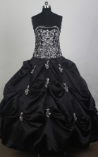 Modest Ball Gown Strapless Floor-length Black Quincenera Dresses TD260059