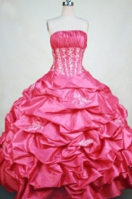 Modest Ball Gown Strapless Floor-length Pink Taffeta Appliques Quinceanera dress Style FA-L-382