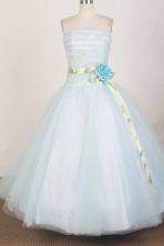 Modest Ball Gown Strapless Floor-length White Quinceanera Dress X0426056