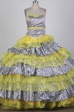 Modest Ball Gown Strapless Floor-length Yellow Quinceanera Dress X0426081