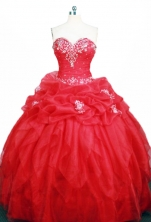 Modest Ball Gown Sweetheart Floor-length Red Organza Appliques Quinceanera dress Style FA-L-366