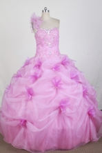 New Ball Gown One Shoulder Floor-length Hot Pink Quinceanera Dress X0426036