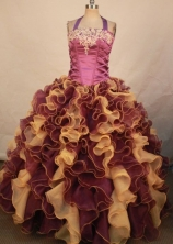 Perfect Ball Gown Halter Top Floor-length Quinceanera Dresses Appliques Style FA-Z-0328