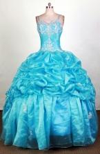Perfect Ball Gown Straps Floor-length Aqua Quinceanera Dress LHJ42706