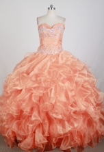 Popular Ball Gown Strapless Floor-length Orange Quinceanera Dress X0426034