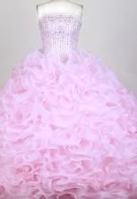 Popular Ball Gown Strapless Floor-length Pink Quinceanera Dress X0426076
