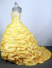 Popular Ball Gown Strapless Floor-length Yellow Quinceanera Dress Y042627