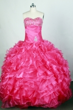 Popular Ball Gown Sweetheart Floor-length Hot Pink Quinceanera Dress Y042648