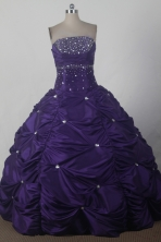 Pretty Ball Gown Strapless Floor-length Purple Quinceanera Dress X0426012