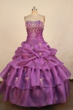 Pretty Ball Gown Strapless Floor-length Quinceanera Dresses Appliques with Beading Style FA-Z-0342