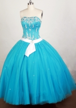 Pretty Ball Gown Strapless Floor-length Teal Quinceanera Dress Y042653