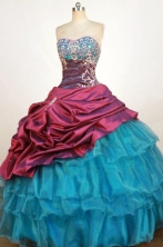 Pretty Ball Gown Sweetheart Neck Floor-Length Blue Beading Quinceanera Dresses Style FA-S-268