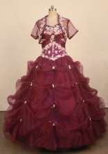Pretty Ball Gown Sweetheart Neck Floor-Length Burgundy Beading Quinceanera Dresses Style FA-S-256