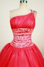 Romantic Ball Gown One Shoulder Floor-length Red Beading Quinceanera dress Style FA-L-404