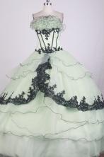 Romantic Ball Gown Strapless Floor-length Apple Green Quinceanera Dress X0426049