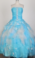 Romantic Ball Gown Strapless Floor-length Aqua Blue Quinceanera Dress X0426030
