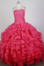 Romantic Ball Gown Strapless Floor-length Florid Quinceanera Dress X0426027