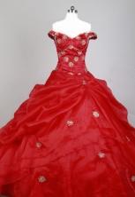Romantic Ball Gown Strapless Floor-length Florid Quinceanera Dress X0426067