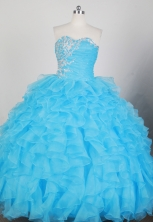 Romantic Ball Gown Strapless Floor-length Teal Blue Quinceanera Dress X0426044