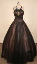 Simple Ball Gown Scoop Neck Floor-length Quinceanera Dresses  Beading Style FA-Z-0338