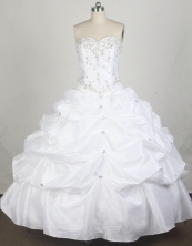 Simple Ball Gown Sweetheart Floor-length White Quincenera Dresses TD260062