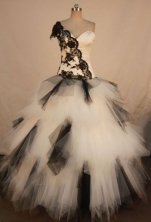 Special ball gown one shoulder floor-length net lace with black quinceanera dresses FA-X-162