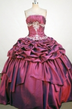 Sweet Ball Gown Strapless Floor-Length Burgundy Beading and Applqiues Quinceanera Dresses Style FA-S-305