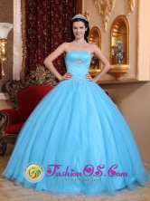 2013  Aqua Blue Sweetheart Beaded DecorateClassical Quinceanera Dresses Made In Tulle and Taffeta In Encarnacion Paraguay Style QDZY733FOR