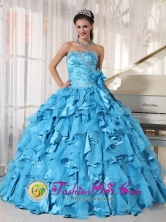 2013 Spring Aqua Blue Quinceanera Dress Sweetheart Organza and Taffeta Ball Gown In Mbocayaty Paraguay Style PDZY692FOR