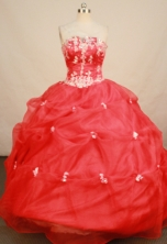 Affordable Ball Gown Floor-length Red Organza Beading Quinceanera Dress Style FA-L-150