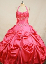 Affordable Ball Gown Halter Top Floor-length Red Taffeta Beading Quinceanera Dress Style FA-L-197