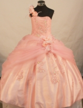 Affordable Ball Gown One Shoulder Floor-length Waltermelon Taffeta Beading Quinceanera Dress Style FA-L-143