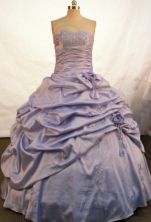 Affordable Ball Gown Sweetheart Floor-length Lilac Taffeta Beading Quinceanera Dress Style FA-L-116