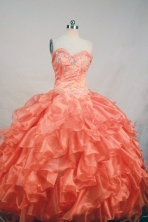Affordable Ball Gown Sweetheart Floor-length Orange Organza Beading Quinceanera Dress Style FA-L-198