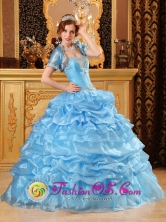 Aqua Blue Wholesale Layered Pick-ups Quinceanera Dress For 2013 Sweetheart Gowns With Jacket Appliques Decorate In Puerto Pinasco Paraguay Style QDZY078FOR