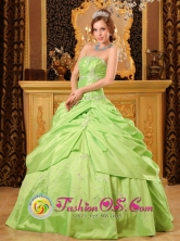 Beaded Decorate Unique Wholesale Spring Green A-line Strapless Quinceanera Dress Style QDZY041FOR