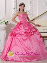 Beading and Flowers Decorate 2013 Modest Hot Pink Quinceanera Dress With Sweetheart Neckline